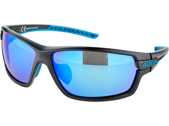 Alpina Tri-Scray 2.0 Bril, black matt-cyan/blue mirror